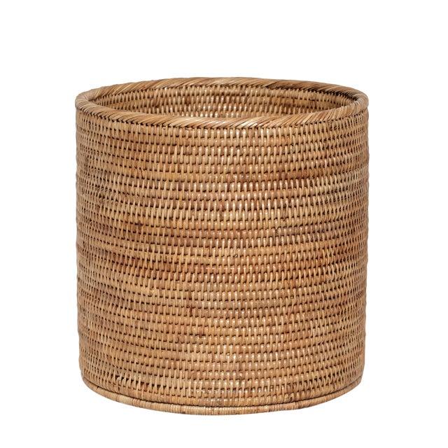 Artifacts Rattan Round Waste Basket For Sale