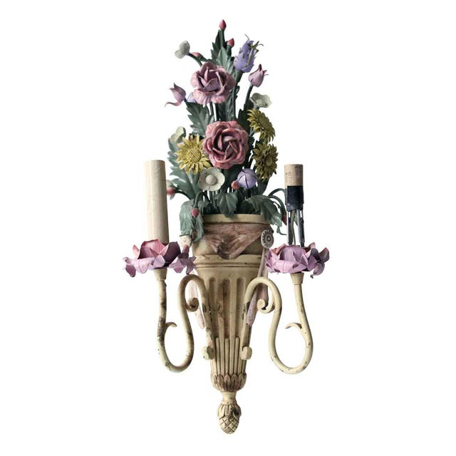 Italian Vintage Mid-Century Italian Floral Metal Sconces - A Pair For Sale - Image 3 of 13