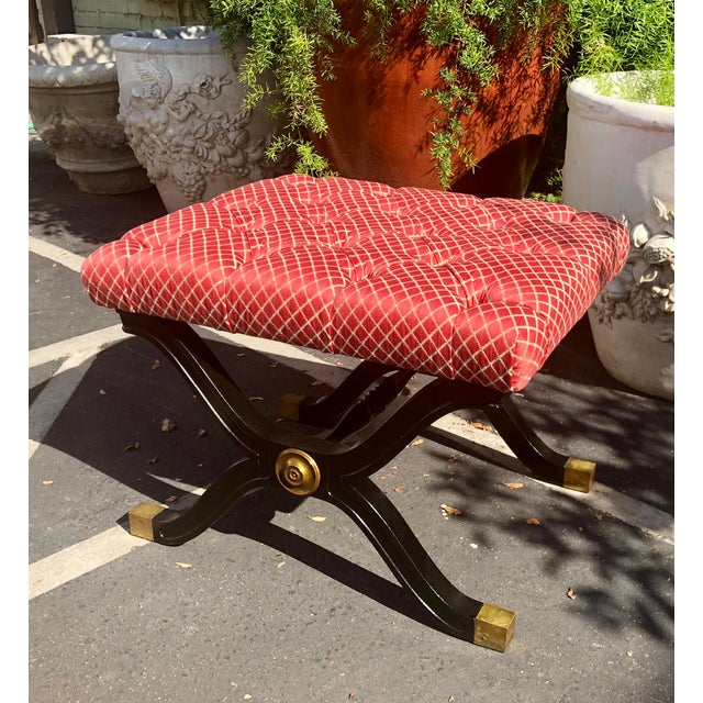 1950s Hollywood Regency Style X Frame Ottoman Footstool Bench For Sale - Image 5 of 6