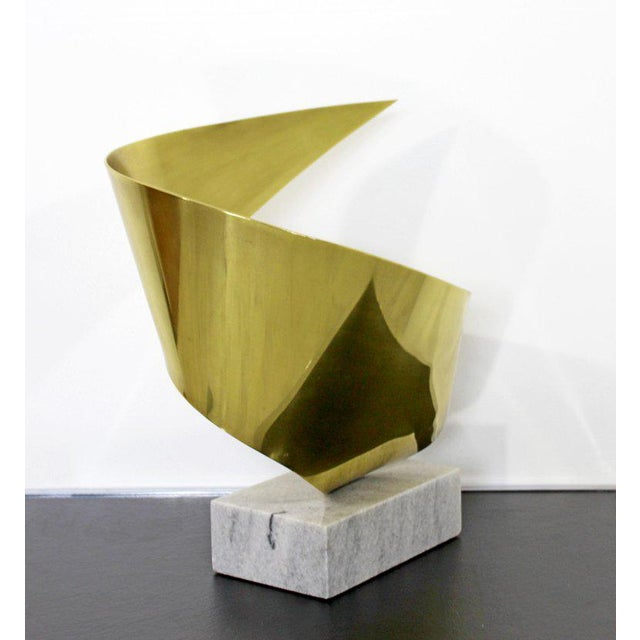Mid-Century Modern Bronze Ribbon Marble Table Sculpture Signed James Nani 1978 For Sale - Image 10 of 13