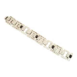 Ciner Art Deco-Style Geometric Link Rhodium Bracelet 1950s For Sale