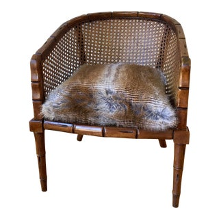 1970s Vintage Cane and Bamboo Barrel Back Chair For Sale