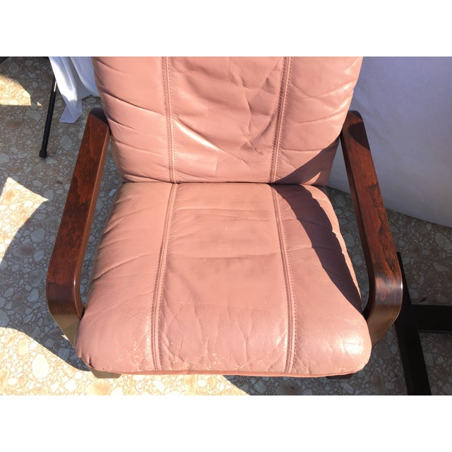 Blush Mid-Century Bentwood Leather Chairs - A Pair - Image 7 of 10