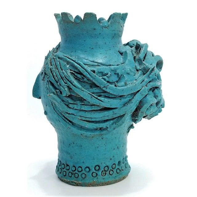 Ceramic 1970s Studio Art Pottery Ceramic Sculpture Blue Vase by Maurice Grossman-Cubist Mid Century Modern Brutalist Boho Face Bust Abstract MCM Art Deco For Sale - Image 7 of 13
