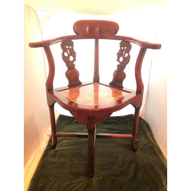 Antique Rosewood Hand Carved Cherry Blossom Inlay Corner Chair Granite Seat For Sale - Image 10 of 10