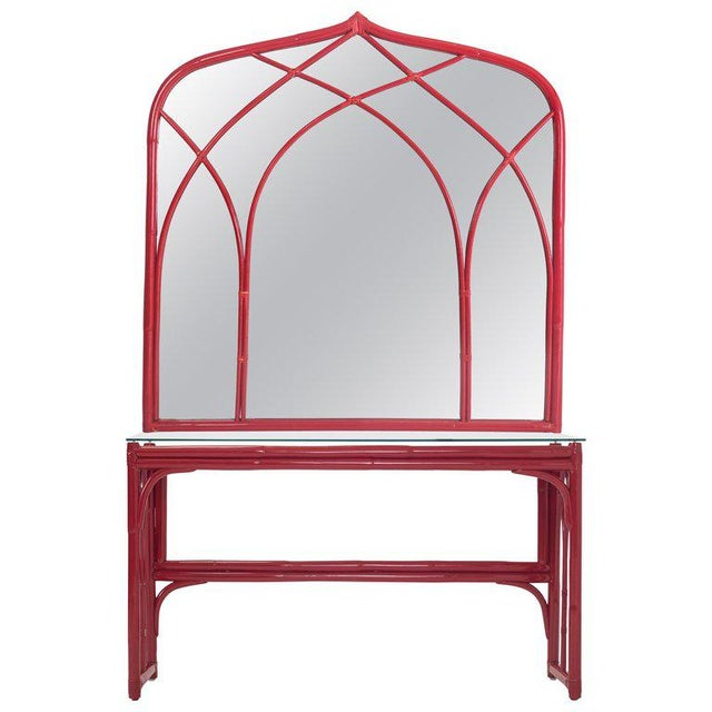 Vanity Table With Large Mirror in Red Lacquered Bamboo For Sale - Image 13 of 13