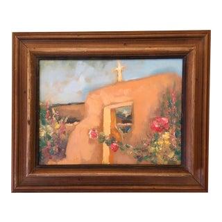 """Santa Fe Hollyhocks"" Contemporary Southwestern Landscape Oil Painting, Framed For Sale"
