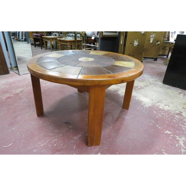 Vintage Danish Modern Solid Teak Round Coffee Table With Tile Top For Sale In Chicago - Image 6 of 6