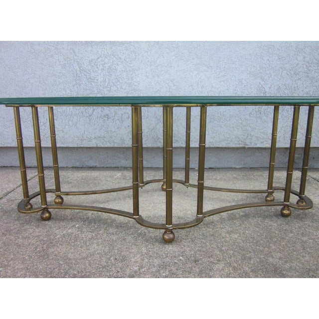 Mid-Century Modern Mastercraft Brass Faux Bamboo Coffee Table For Sale - Image 3 of 4