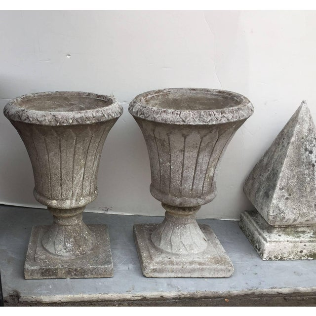 English Garden Stone Urns - a Pair For Sale In Austin - Image 6 of 11