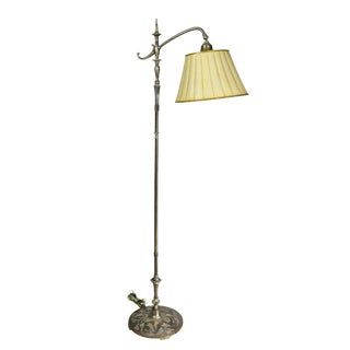 French Art Deco Silvered Bronze Decorated Floor Lamp