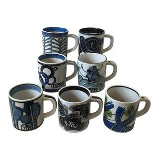 Vintage Royal Copenhagen Fajance Annual Mugs - Set of 7 For Sale