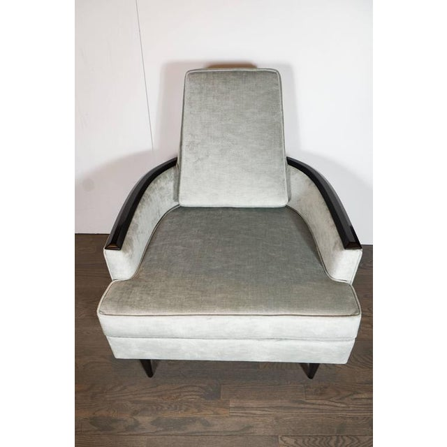 Textile Pair of Mid-Century Armchairs in Smoked Platinum Velvet and Ebonized Walnut For Sale - Image 7 of 9