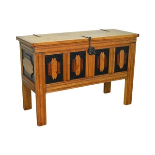 Hand Crafted Tall Southwood Style Lidded Chest For Sale