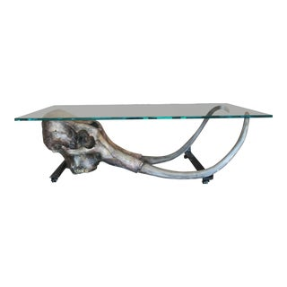Large Woolly Mammoth Head 8ft Glass Top Table For Sale