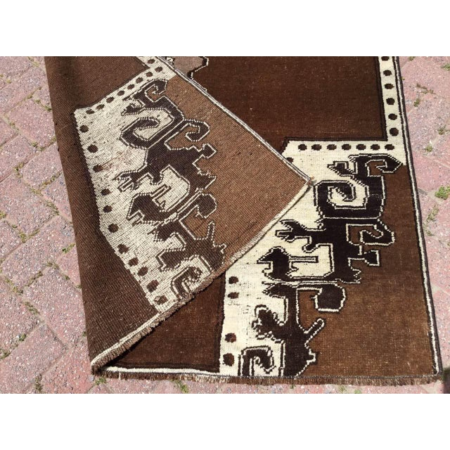 Brown Brown Turkish Area Rug For Sale - Image 8 of 9
