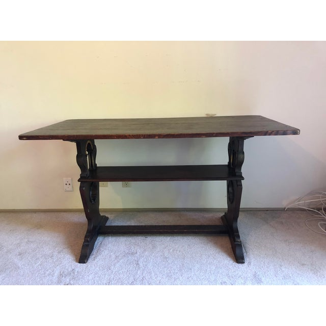 1900s American Classic Solid Oak Library Table For Sale - Image 9 of 9