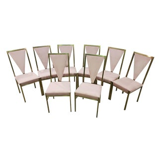 Set of Eight Vintage Italian Art Deco Style Newly Upholstered in Pink Velvet Brushed Steel Frame Dining Chairs For Sale