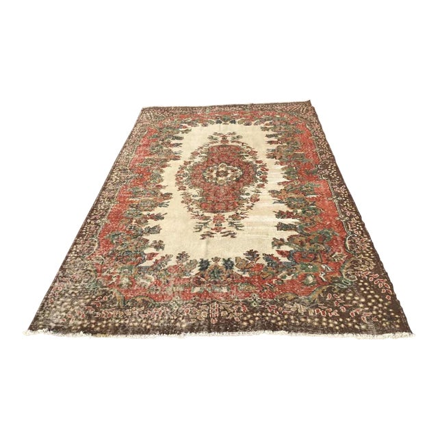 Vintage Hand Knotted Turkish Rug For Sale