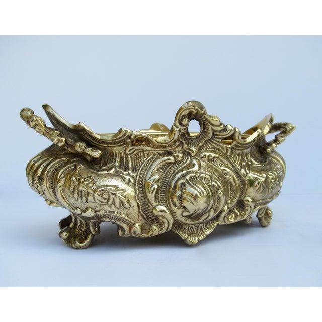 Art Nouveau Vintage Brass Ornate Planter W/Brass Interior Liner For Sale - Image 3 of 13