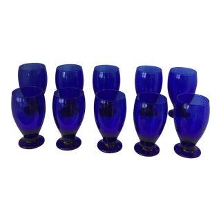 Vintage Cobalt Blue Glass Footed Goblets - Set of 10 For Sale