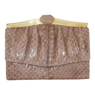 Judith Leiber Taupe Snakeskin Wallet For Sale
