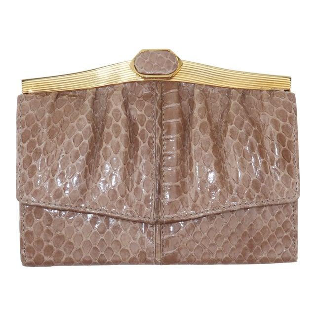 Judith Leiber Taupe Snakeskin Wallet For Sale