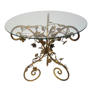 Italian Tole Gold Gilt Table With Glass Top For Sale
