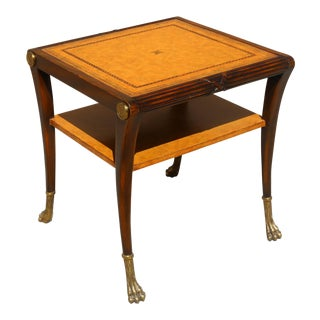 Vintage Carved Mahogany Table With Leather Top For Sale