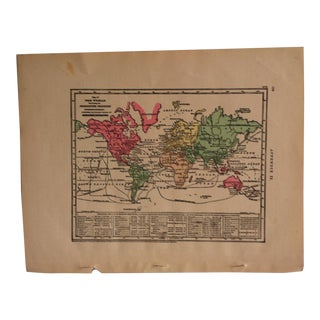 "Antique 1867 Geography Map ""The World - Productive Industry"" by Sheldon & Company For Sale"