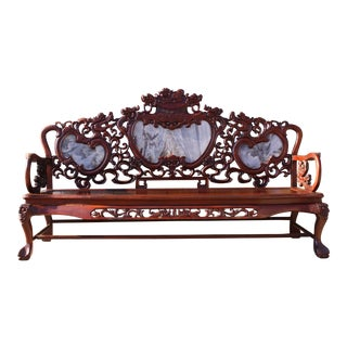 Vintage Chinese Carved Sofa Bench