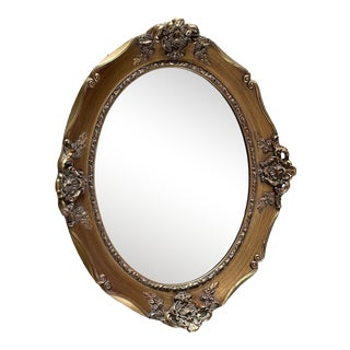 Vintage Mid 20th Century J. A. Olson Company Oval Beveled Wood Mirror For Sale