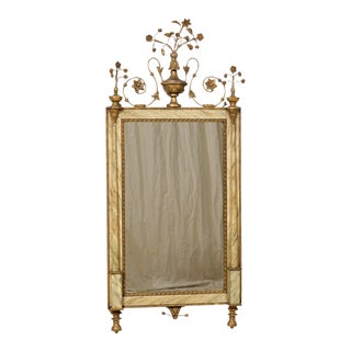 Vintage Faux Marble Frame and Decorative Floral Italian Wall Mirror For Sale