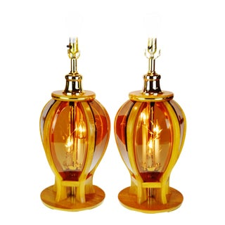 Mid Century Modern Etched Amber Glass Table Lamps - a Pair For Sale