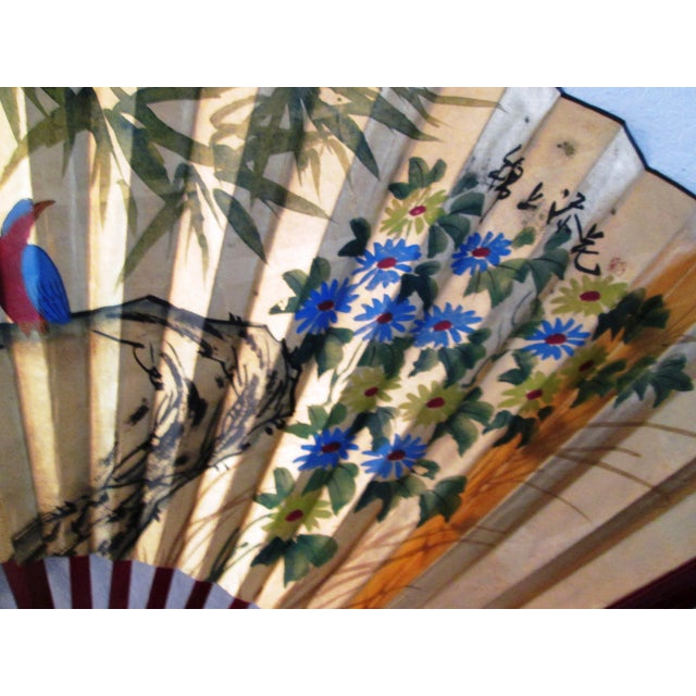 Asian Blue Bird & Floral Gold Paper Wall Fan - Image 5 of 8