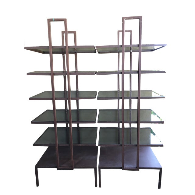 Industrial Glass Shelves - a Pair For Sale