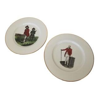 Gilt Edge Porcelain Plates Depicting 18th C. English Golf - Set of 2 For Sale