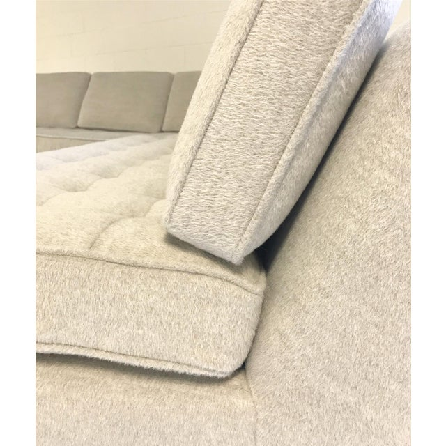 Vintage Mid-Century 2-Piece Sectional Sofa Restored in Gray Loro Piana Alpaca Wool For Sale - Image 9 of 12