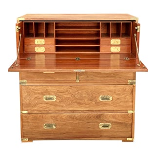 Charlotte Horstmann Campaign Style Drop-Down Secretary Chest For Sale