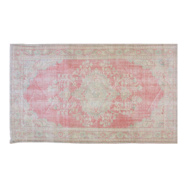 """Vintage Turkish Oushak Hand Knotted Organic Wool Fine Weave Rug,5'5""""x9'3"""" For Sale"""