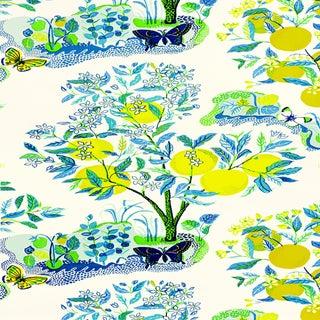 Sample - Schumacher X Josef Frank Citrus Garden Wallpaper in Pool For Sale
