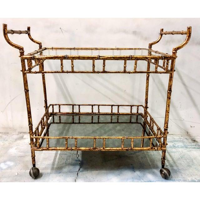 Hollywood Regency Italian Gilt Metal Bar Cart - Image 3 of 3