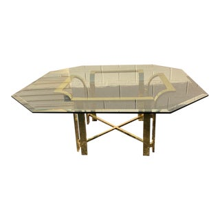 20th Century Hollywood Regency Octagonal Glass and Brass Coffee Table For Sale