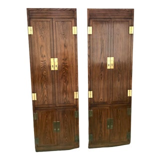 Henredon Scene One Campaign Cabinet Armoires - a Pair For Sale