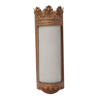 Mid 20th Century Gothic Copper Plated Brass & Milk Glass Theater Sconce For Sale
