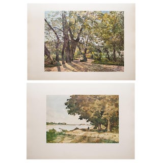 1959 Cottage Vintage Prints, a View of Paris and on the Shore by H. J. Harpignies - a Pair For Sale