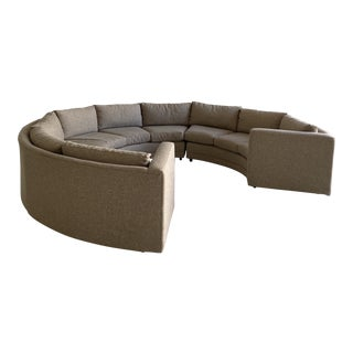 Upholstered Mid-Century Circular Sectional For Sale