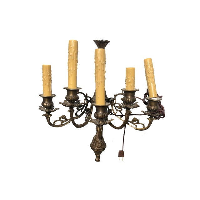 French Bronze Antique Wall Sconces - a Pair For Sale - Image 4 of 5