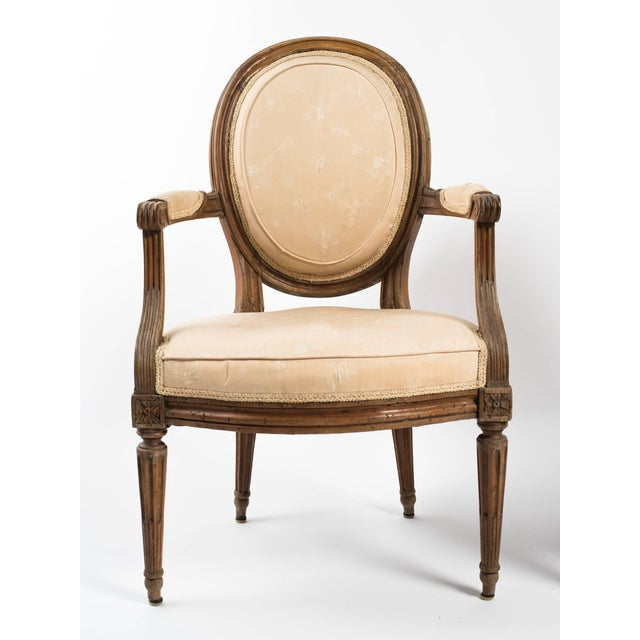 French 19th Century Vintage French Louis XVI Armchairs- a Pair For Sale - Image 3 of 11