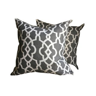 Graphite & White Pillow Covers - a Pair For Sale